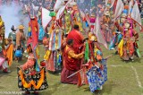 China,Dancing,Festival,Hat,Mask,Monk,Sichuan,Sword,Tibetan