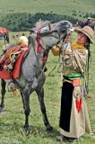 Bagu,China,Festival,Hair,Horse,Sichuan,Tibetan,Waist Band