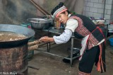 China,Cloth Backpiece,Cooking,Hair Piece,Hani,Hat,Market,Wok,Yunnan
