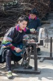 China,Earring,Eating,Guizhou,Hair,Hair Pin,Miao,Necklace,Spindle,Spinning