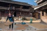 Balcony,China,Dong,Drying,Guizhou,Paddy,Residence,Winnowing