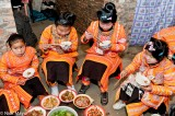 Apron,China,Eating,Guizhou,Hair,Miao,Necklace,Rice,Wedding