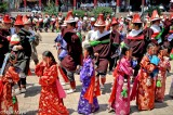 China,Dancing,Festival,Hair Piece,Hat,Procession,Qinghai,Tibetan