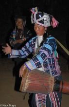 China,Drumming,Festival,Hani,Headdress,Yunnan
