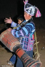 China,Drumming,Festival,Hani,Headdress,Yunnan