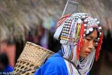 Basket,Burma,Hani,Headdress,Market,Necklace,Shan State,Shopping