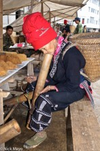 Basket,China,Hat,Market,Smoking,Tobacco,Yao,Yunnan