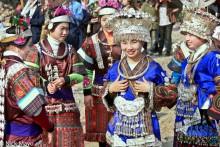 Apron,Breastpiece,China,Festival,Guizhou,Hair Piece,Headdress,Miao,Necklace