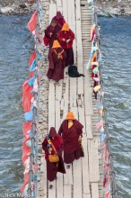Bridge,China,Hat,Nun,Sichuan,Tibetan