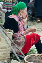 Basket,Earring,Head Scarf,Lao Cai,Market,Miao,Vietnam