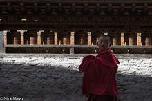 Bhutan,East,Festival,Monk,Prayer Wheel