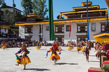 Bhutan,Dancing,Drum,Dzong,East,Festival,Mask,Monk