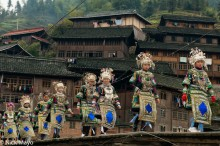 Apron,Breastpiece,Bridge,China,Dong,Guizhou,Headdress,Necklace,Village,Wedding
