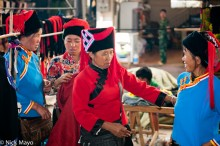 China,Hani,Hat,Market,Selling,Yunnan