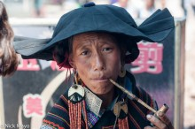 China,Earring,Hat,Necklace,Pipe,Sichuan,Smoking,Yi