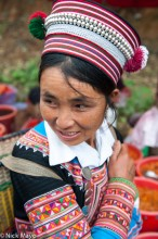China,Hani,Hat,Market,Yunnan