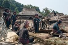 Bracelet,Burma,Eng,Hat,Preparing Thatch,Shan State,Thatch,Village,Water Pipe