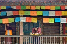 China,Monastery,Monk,Prayer Flag,Sichuan,Tibetan