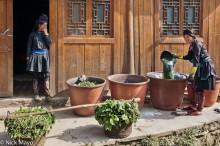 Apron,China,Dong,Guizhou,Indigo,Leggings,Shoulder Pole,Turban