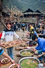 China,Guizhou,Miao,Serving,Vegetable,Wedding
