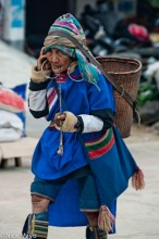Basket,China,Lahu,Market,Pipe,Shopping,Smoking,Yunnan