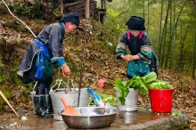 Apron,China,Guizhou,Hat,Miao,Preparing,Vegetable