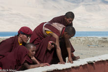 Monks Watching The Cham Dance