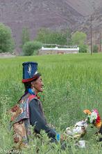 Ladakhi Woman Wearing Tibi Hat