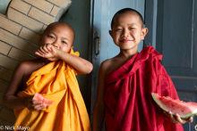 Burma, Monk, Shan, Shan State, Shinbyu, Watermelon