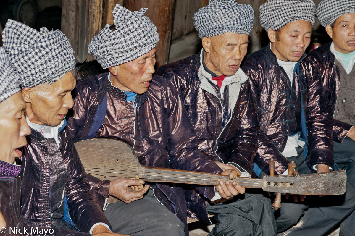 China,Dong,Festival,Guizhou,Singing,Stringed Instrument,Turban, photo