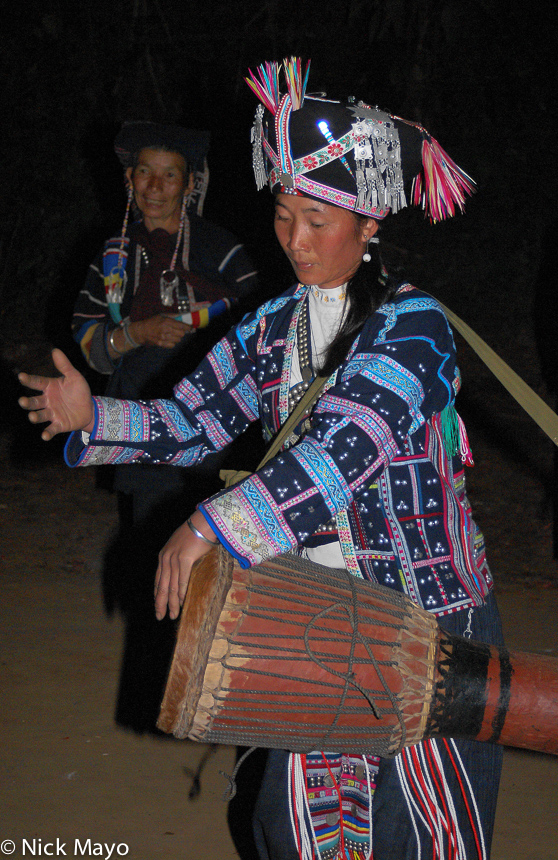 China,Drumming,Festival,Hani,Headdress,Yunnan, photo