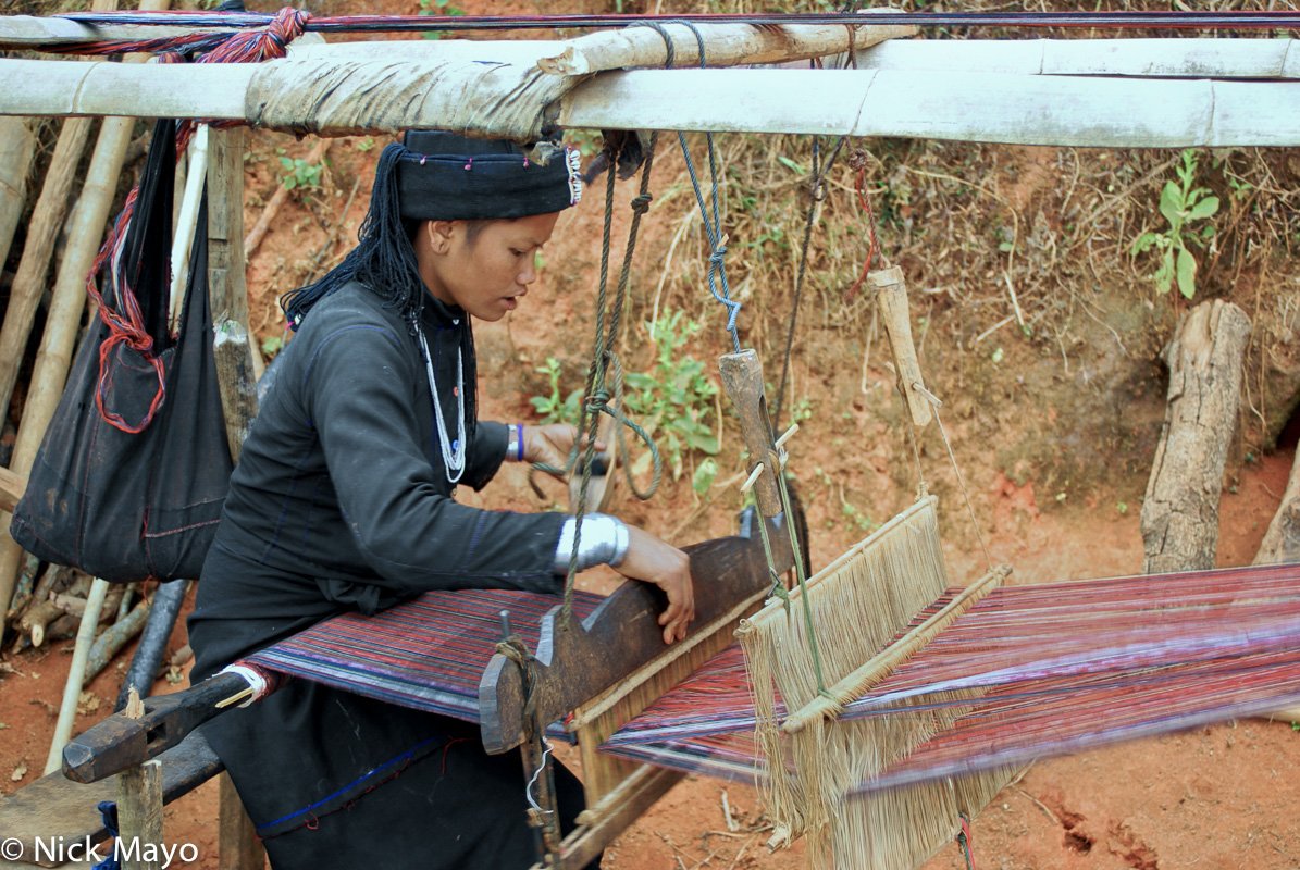 Burma,Eng,Frame Loom,Shan State,Weaving, photo