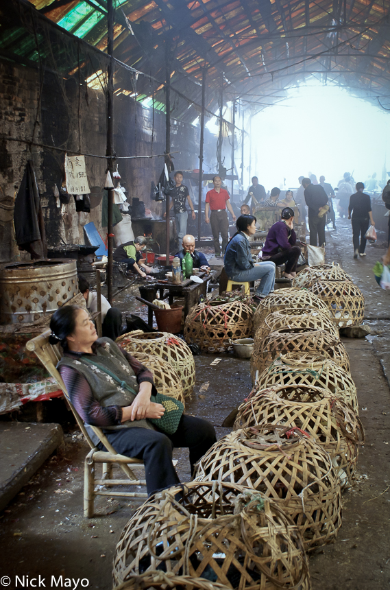 Basket,Bird,China,Guizhou,Market,Selling, photo