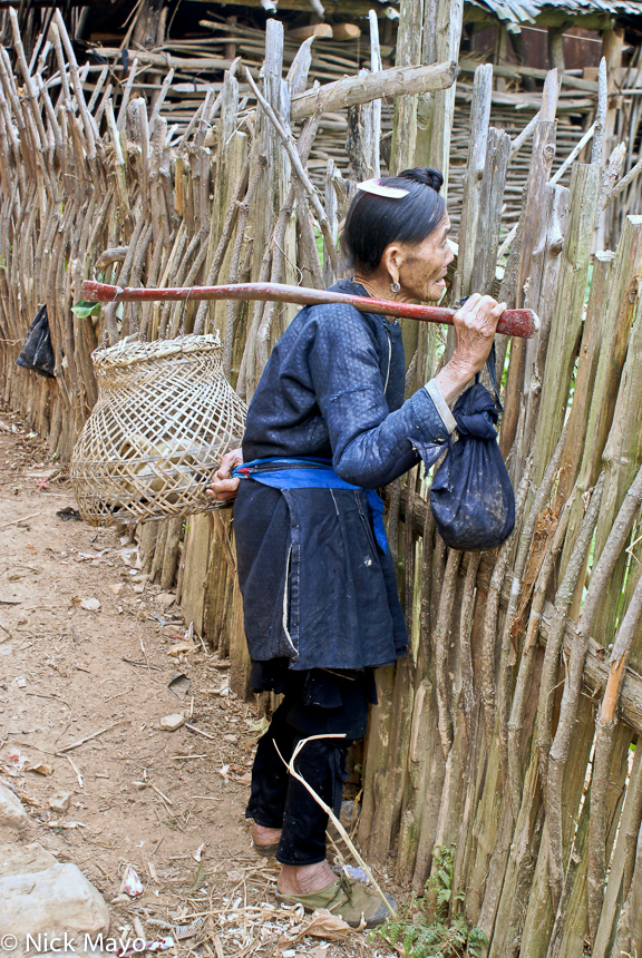 A Dong woman carrying a basket of ducklings on a shoulder pole in Wuei village.