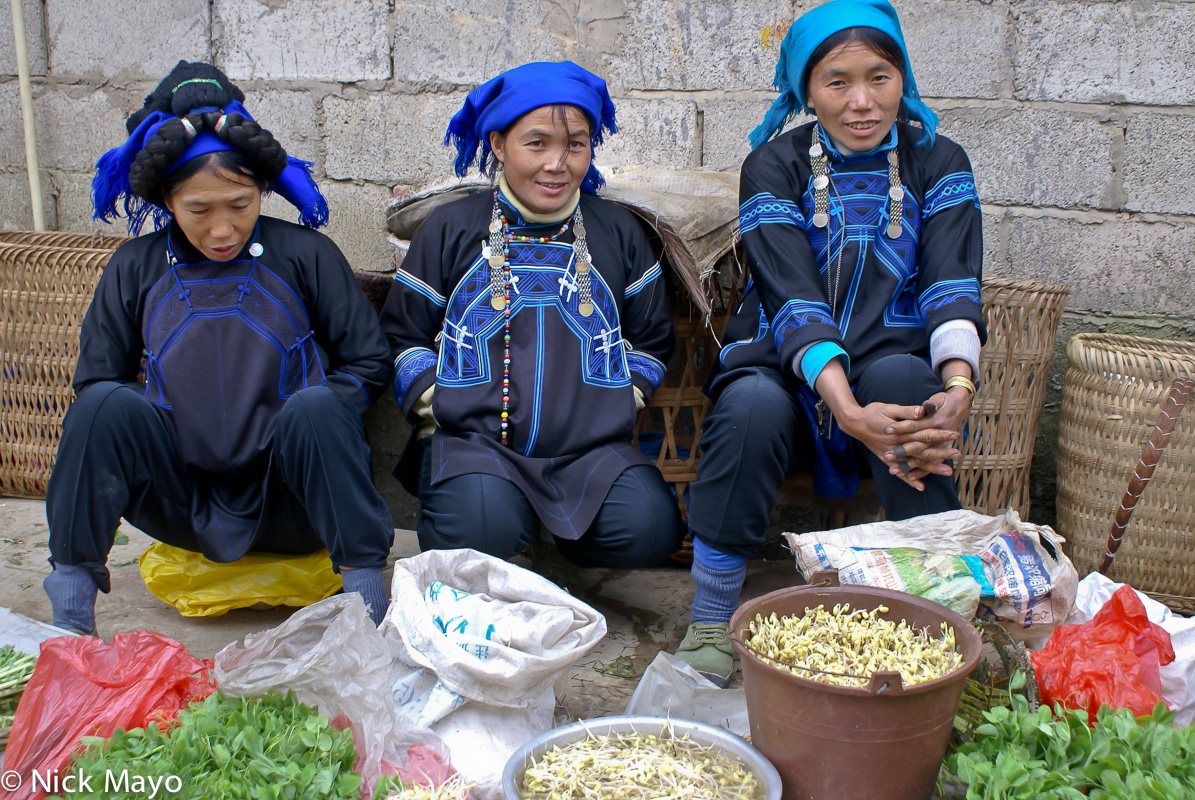 China,Hair Piece,Hani,Head Scarf,Market,Selling,Vegetable,Yunnan, photo