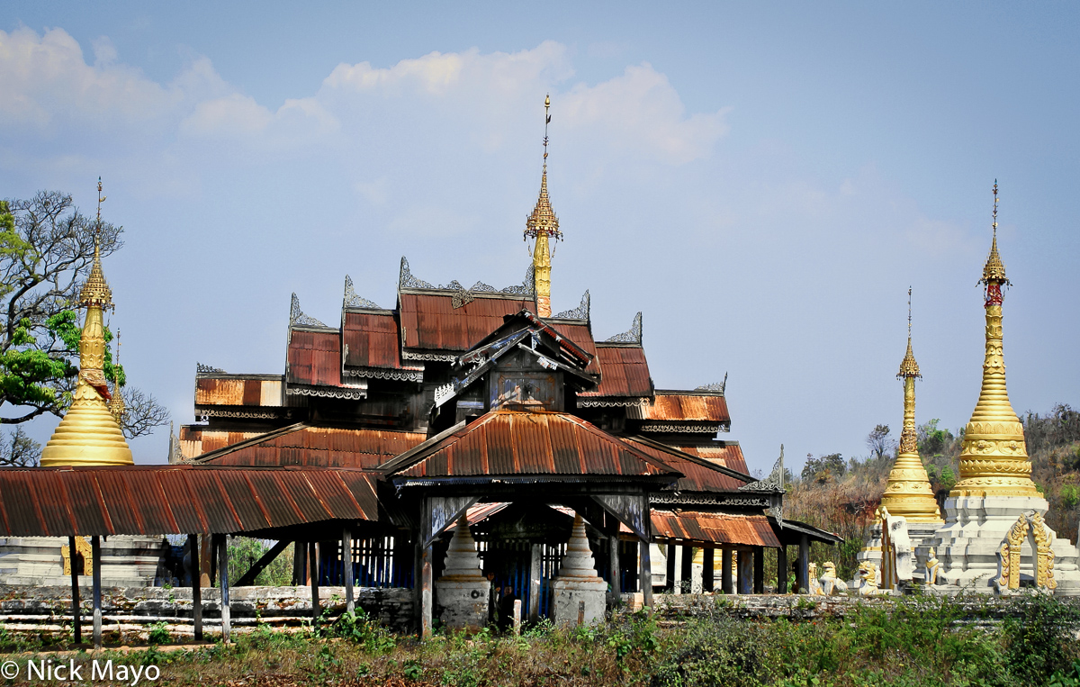An old monastery surrounded by stupas outside Kyaukme.