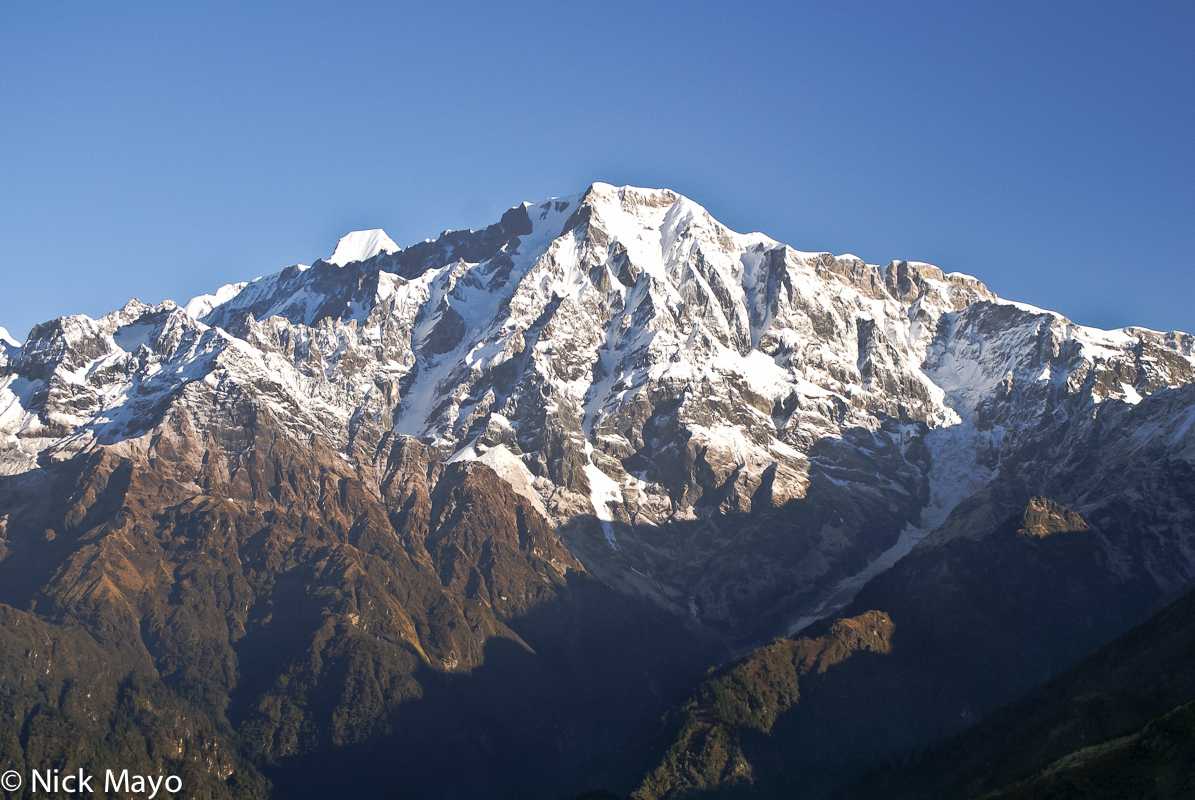 The peaks of Nanda Devi East as seen from high up in the Ram Ganga valley.