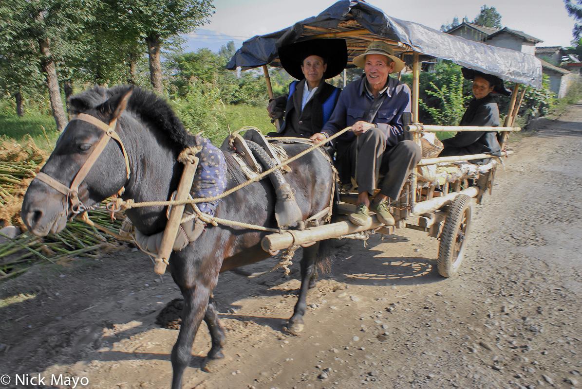 Cart,China,Hat,Horse,Sichuan,Yi, photo
