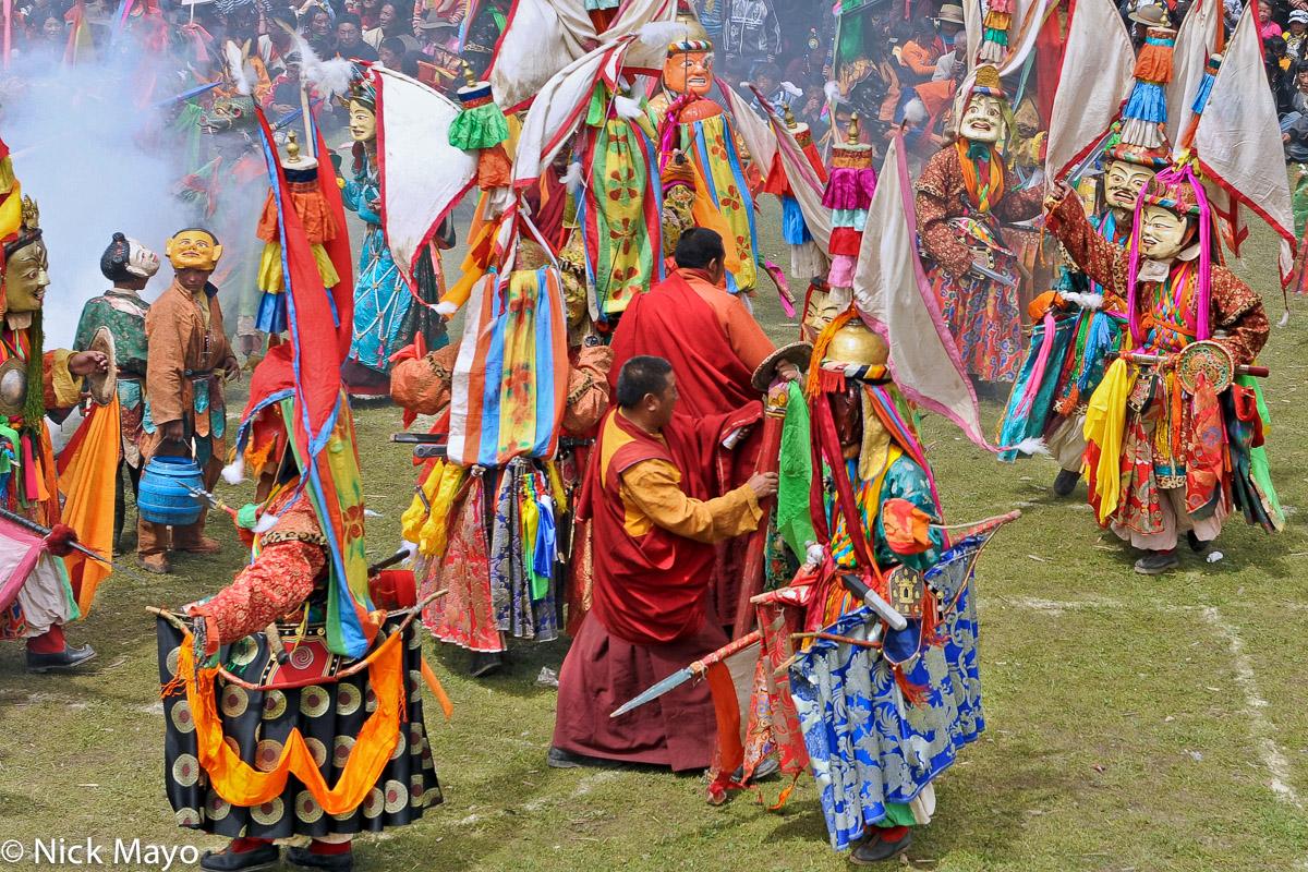 China,Dancing,Festival,Hat,Mask,Monk,Sichuan,Sword,Tibetan, photo