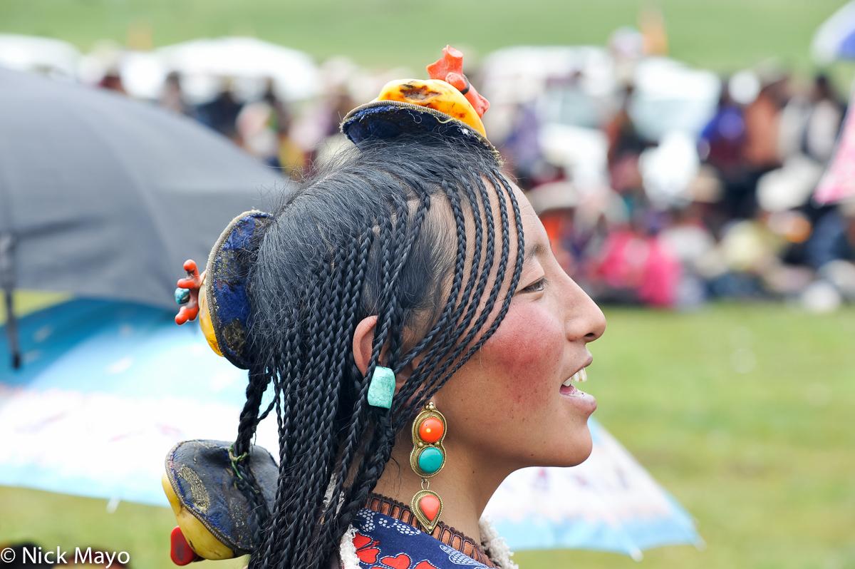 China,Earring,Festival,Hair,Hair Piece,Sichuan,Tibetan, photo