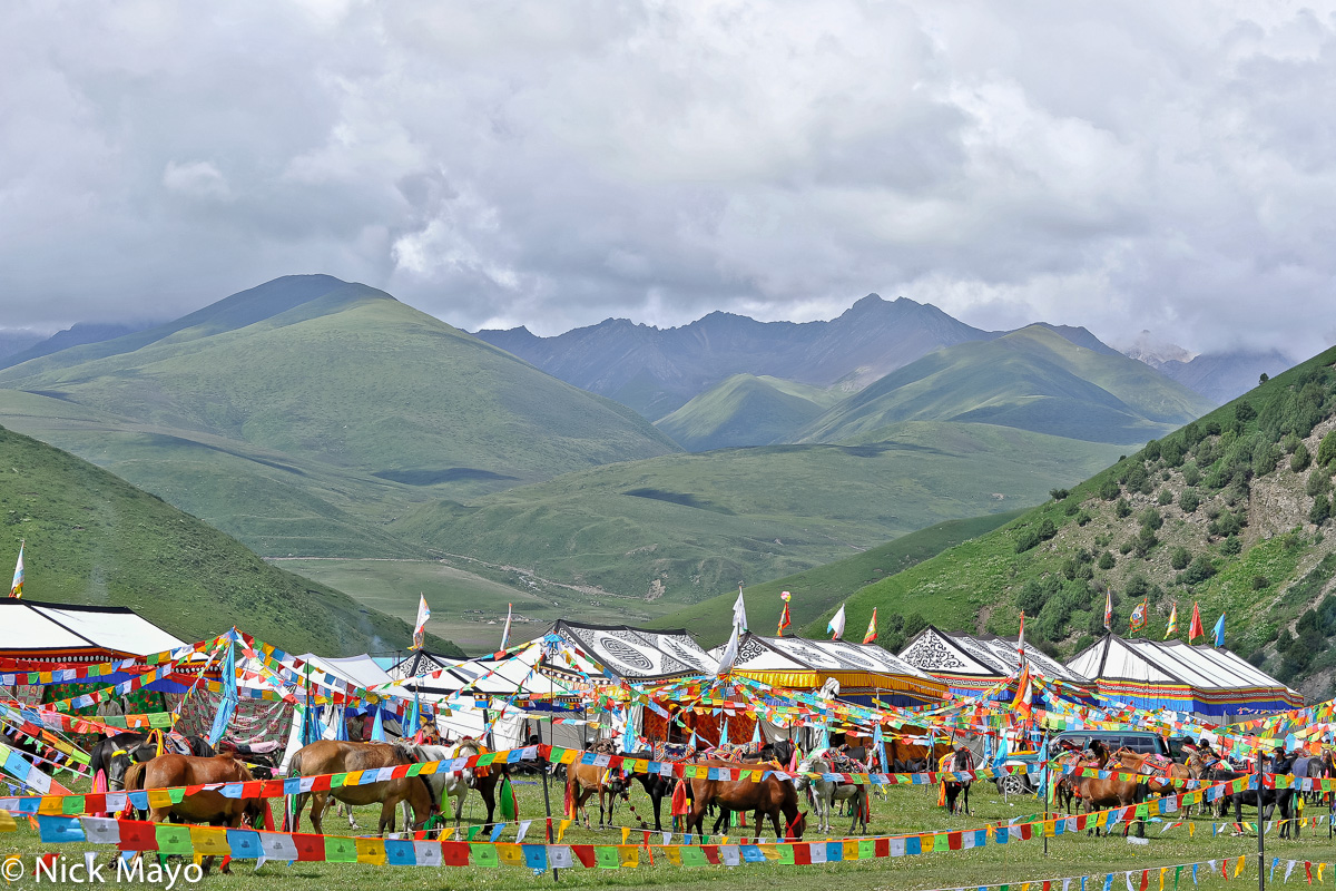 China,Festival,Festival Tent,Horse,Prayer Flag,Sichuan, photo