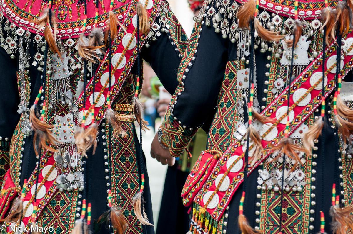 Women wearing traditional dress at a Rukai wedding in Wutai.