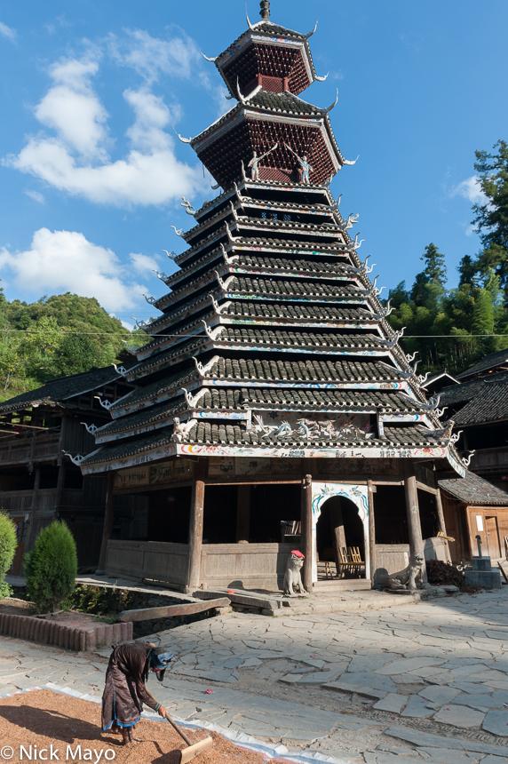 China,Dong,Drum Tower,Guizhou,Hat,Leggings,Paddy,Raking, photo