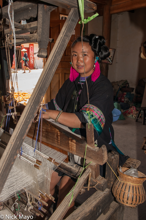China,Frame Loom,Guizhou,Miao,Weaving, photo