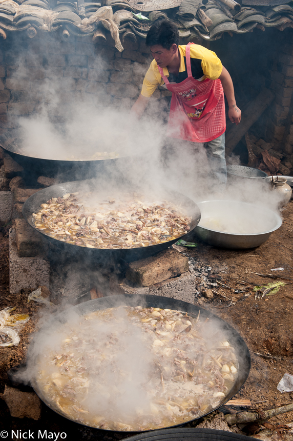 China,Cooking,Hani,Meat,Wedding,Wok,Yunnan, photo