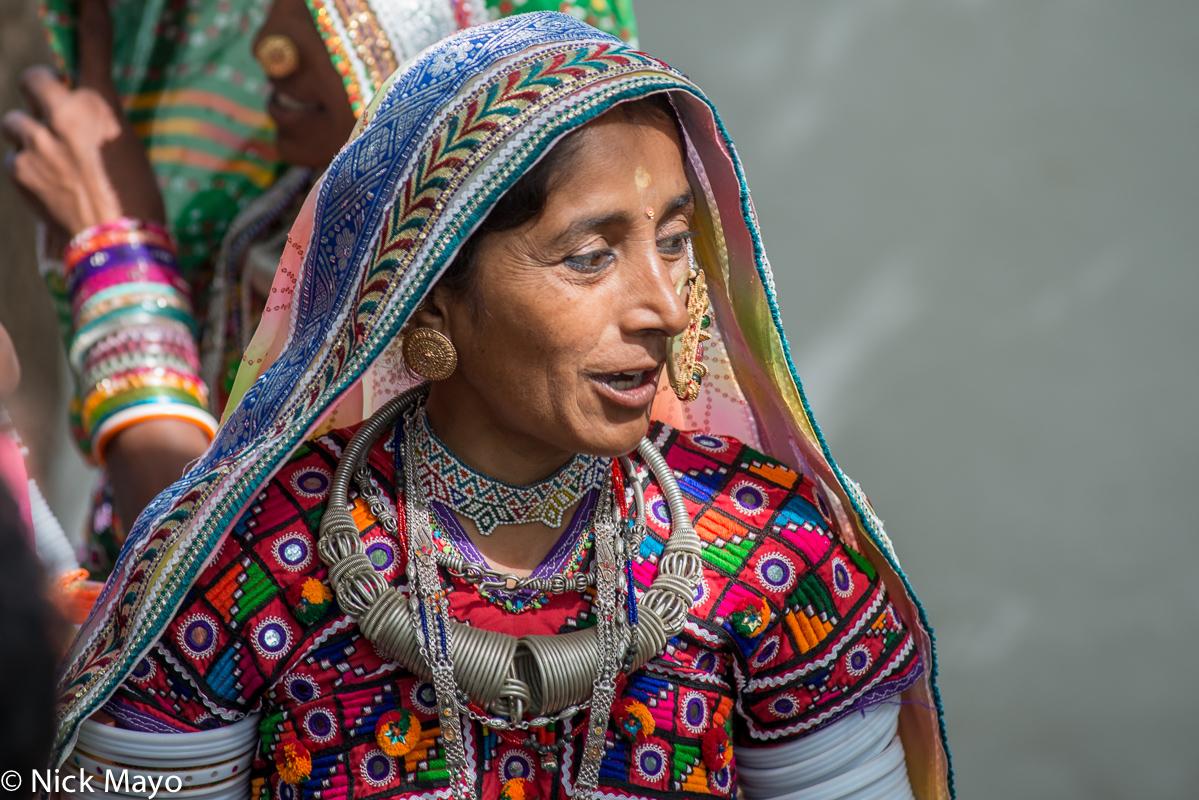 Earring,Festival,Gujarat,Head Scarf,India,Necklace, photo