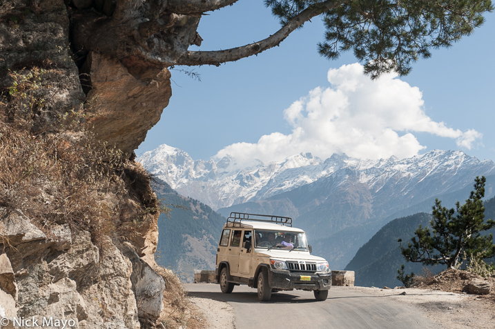 A jeep on a mountain road at Umi in Kinnaur.