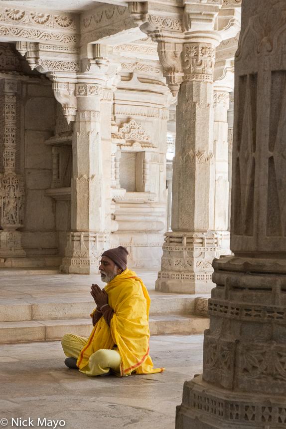 Attendant/Guard,India,Praying,Rajasthan,Temple, photo