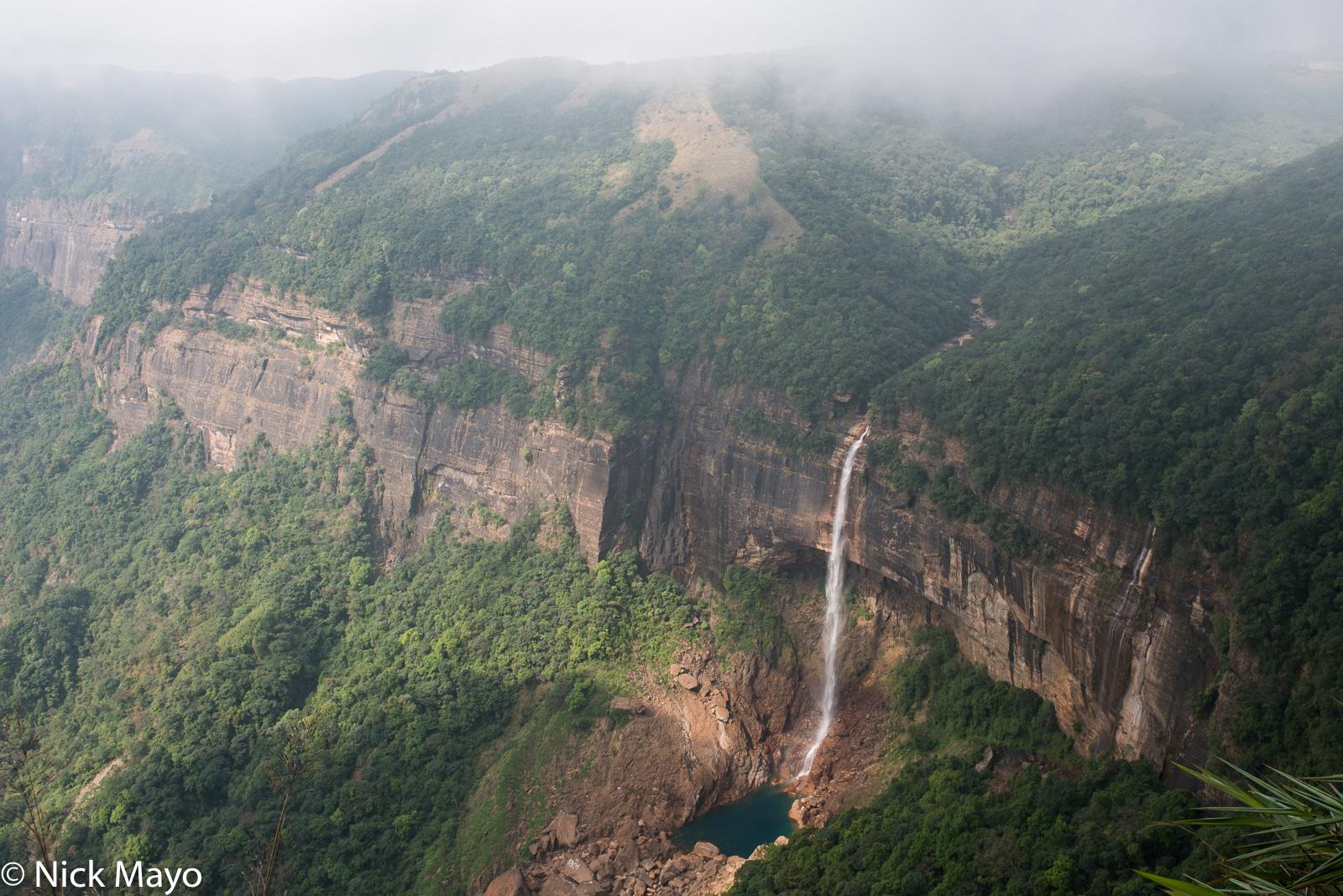 """The waterfall at Sohra known as """"Jump Of Ka Likai"""" in the local Khasi language."""