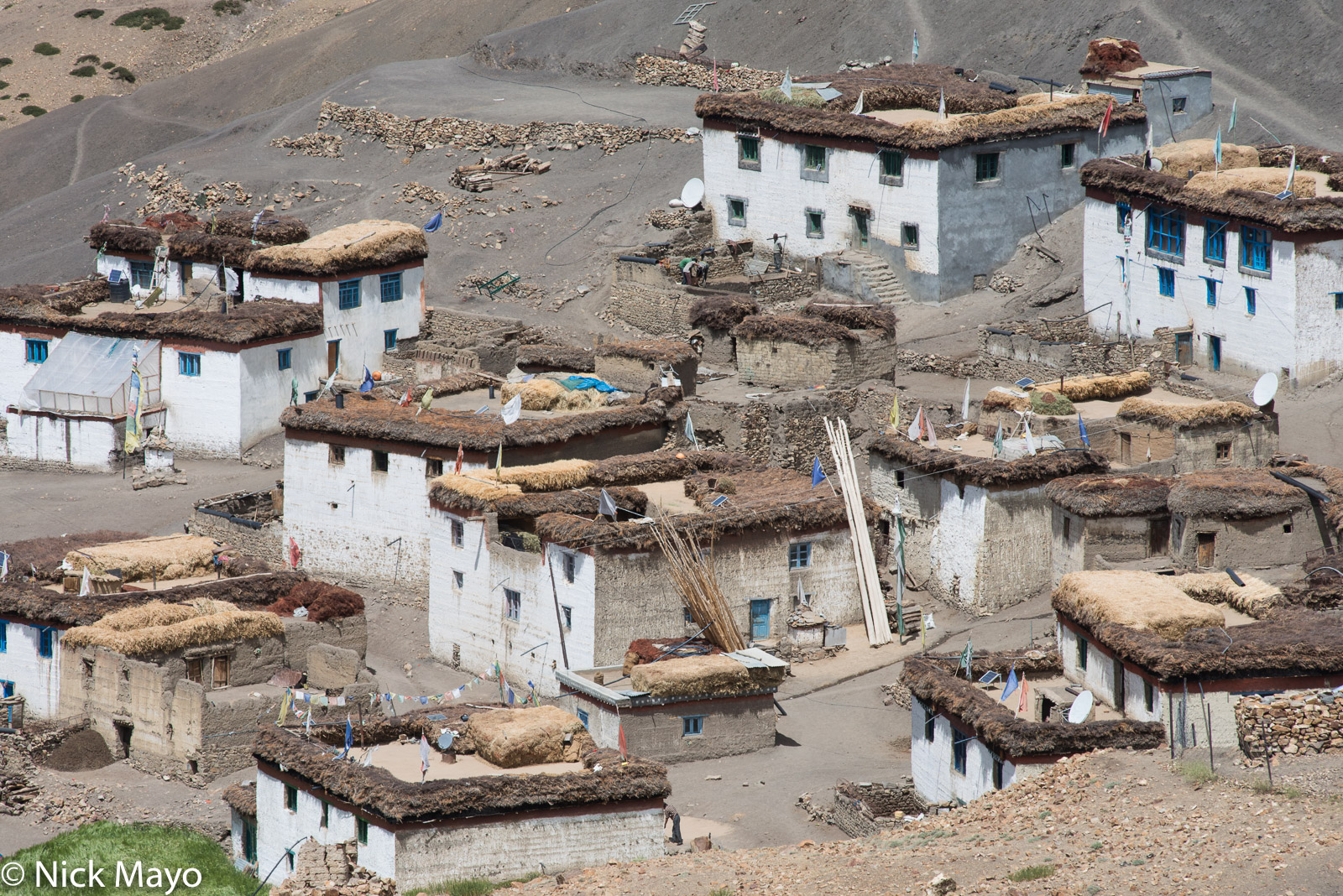 Flat roofed whitewashed houses in the village of Hikkim in Spiti.